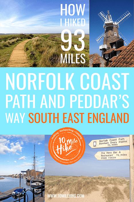 Pinterest collage: Pedars Way and Norfolk Coast Path 93 Mile Hike