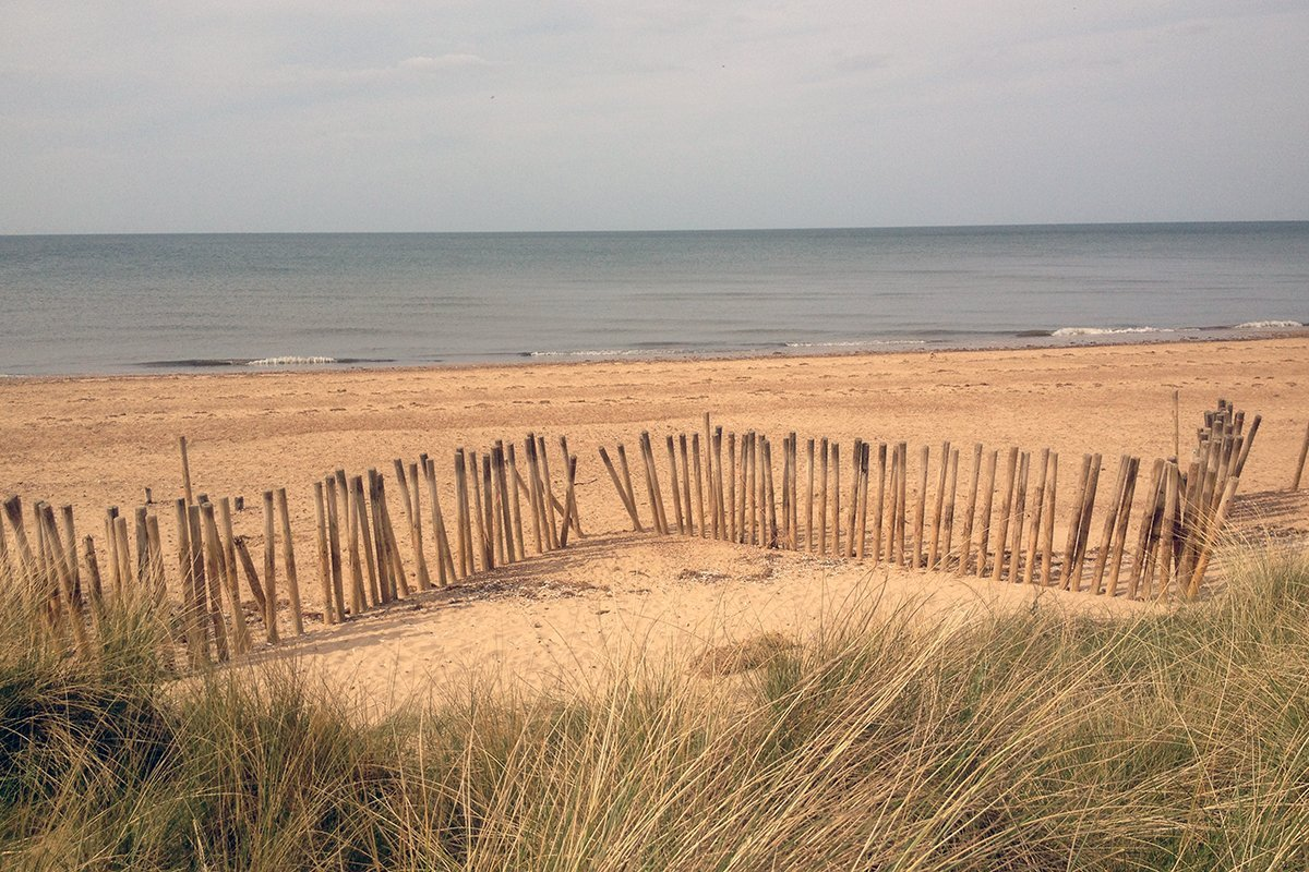 Palings and marram grass in the dunes, Norfolk Coast Path National Trail. Copyright Stephanie Boon, 2018. All Rights Reserved.