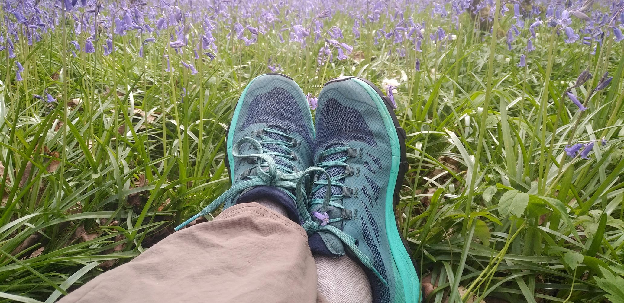 Salomon Outline Hiking shoes. Blue lace up trail running style shoe.