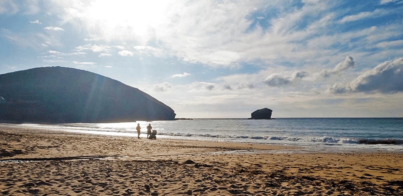 Portreath beach, at the end of the Bissoe Coast To Coast Trail near Truro, Cornwall, UK